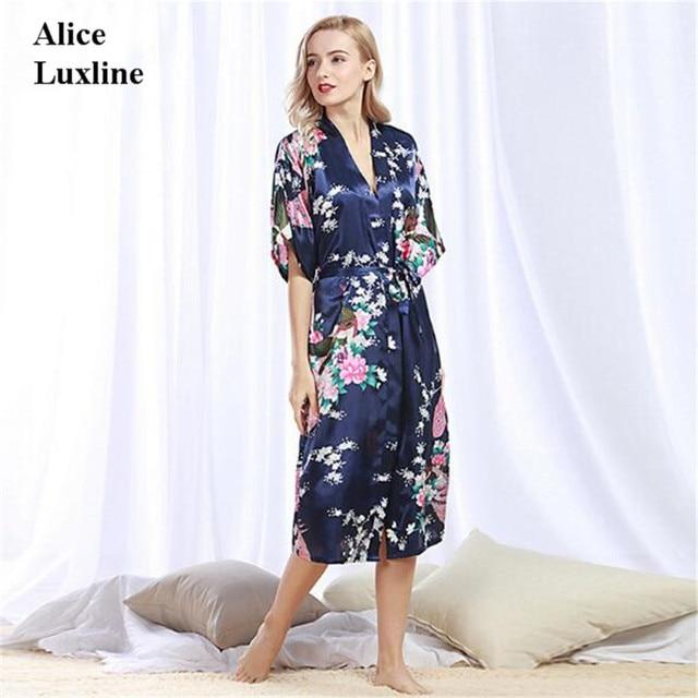 b0e7aca64a Women Silk Satin 2018 Summer ladies sleeve floral Bathrobes Nightgown Short  Kimono Dressing Gown Peacock robe night pajamas UK
