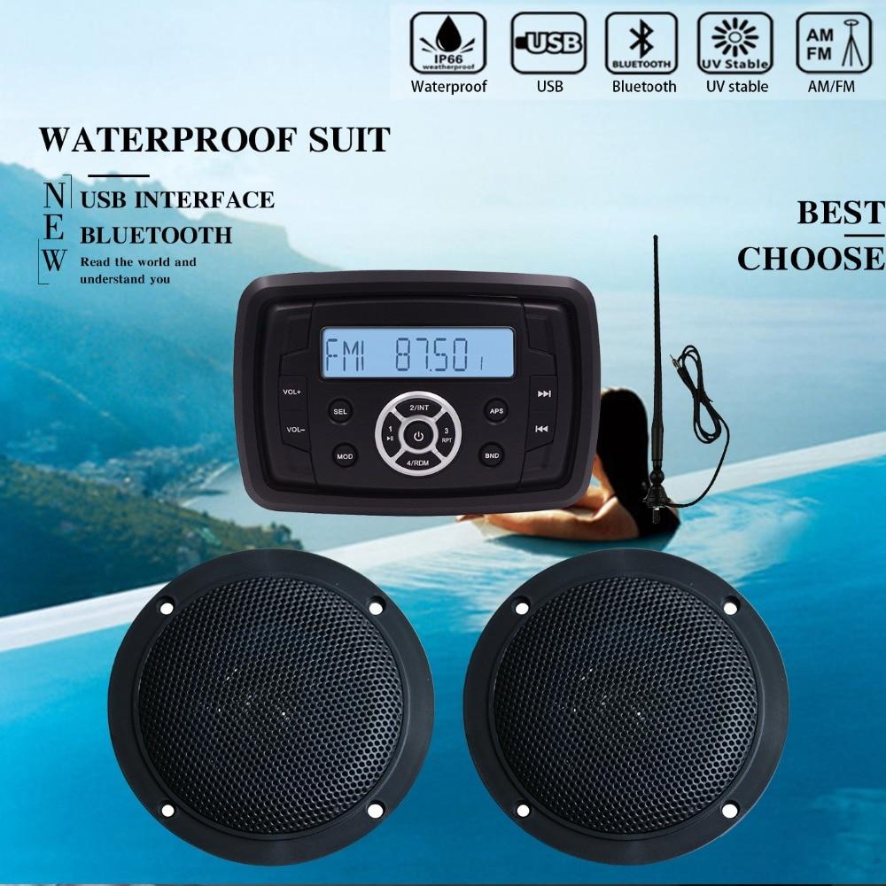 Marine Stereo audio system Boat Bluetooth Radio FM AM USB MP3 Player for Motorcycle ATV UTV