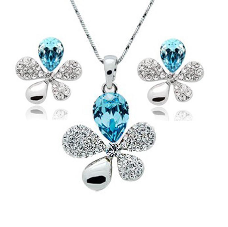 Jewelry-Set Earrings Pendant Crystal Leaf Artificial-Grass Five Piece Suit-132 Full-Drill