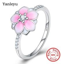 Yanleyu Unique Mode Drops Glue Flower Ring Solid 925 Sterling Silver Jewelry AAA Zircon Weddin...