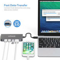 Vmade USB Type C HUB to HDMI 4k USB C Adapter with SD/Micro SD Card Reader, RJ45 USB 3.0 ports Power Port Combo for MacBook Pro