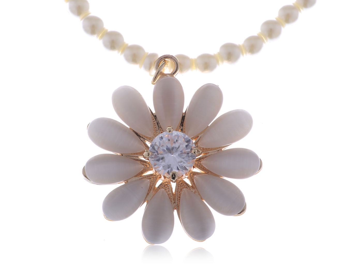 Faux Pearl Necklace With Gold Tone Metal And White Gem Rhinestone Flower  Pendant(china (