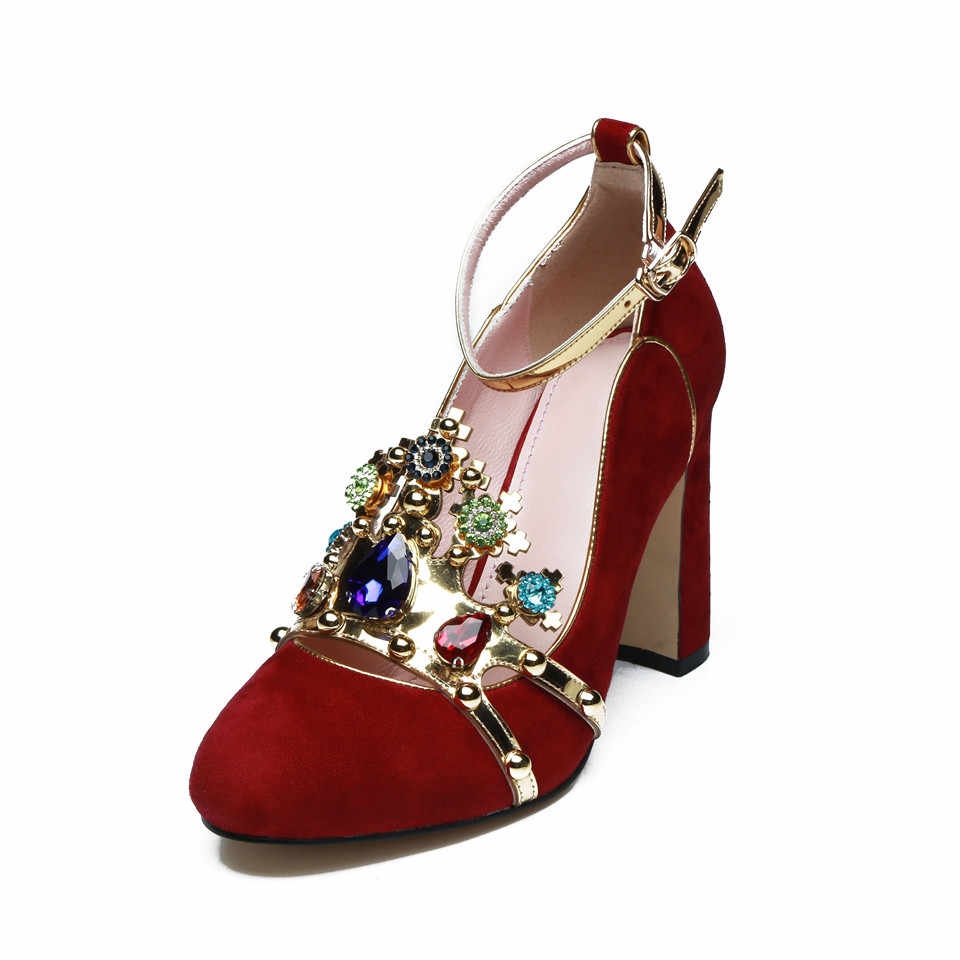 53031f91e ... Sexy Crown jeweled Red High heels Wedding Shoes Woman Suede Round Toe  Chunky high heeled ankle ...