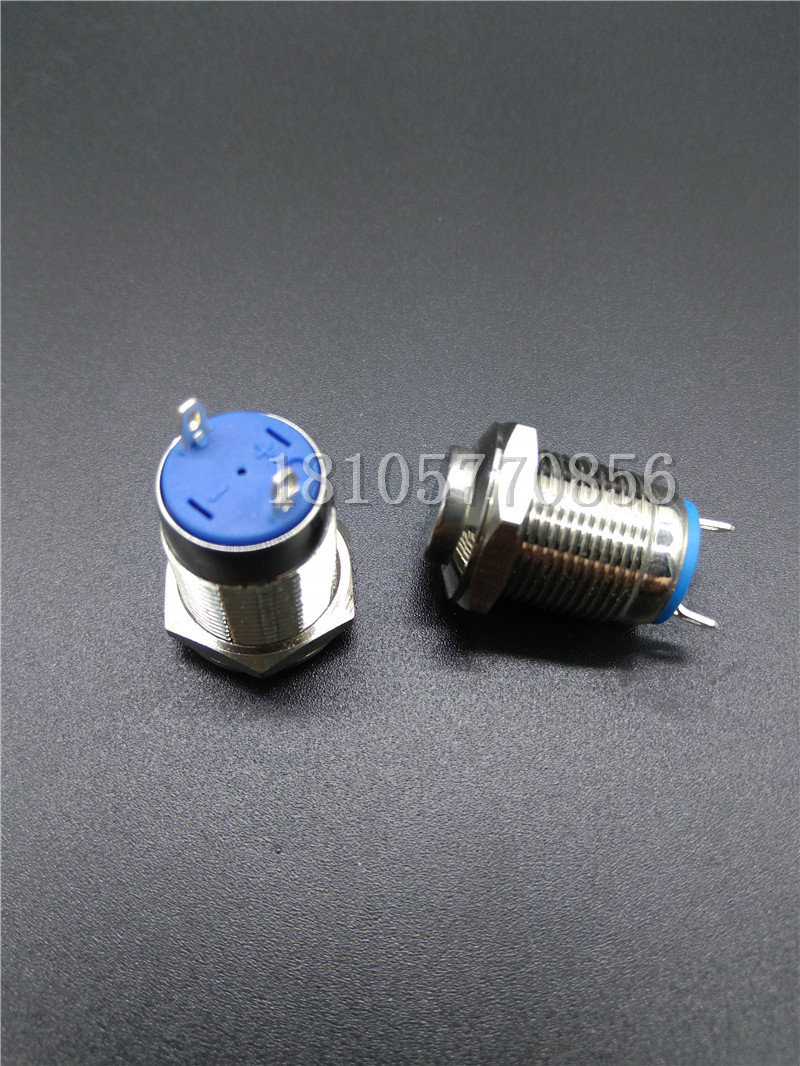 10pcs 12mm metal button switch, no lamp, high head, reset point, move normally, two welding feet, no lock