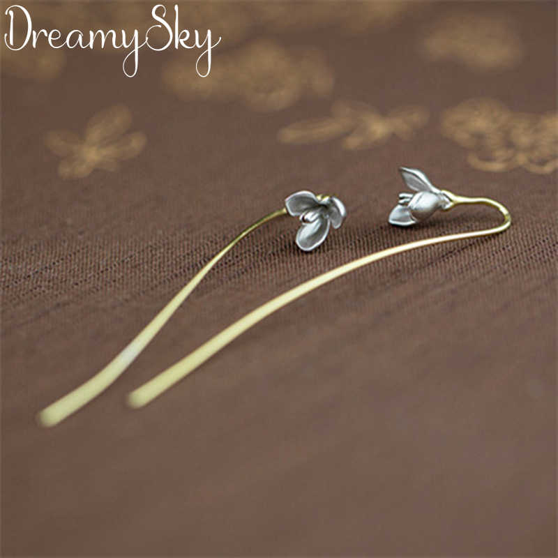 Luxury Brand Ear Jewelry 925 Sterling Silver Flower Earrings For Women Ladies Statement Earrings Gifts Pendientes Brincos