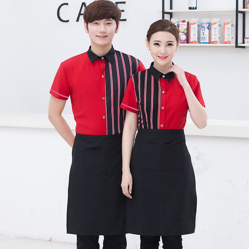 Hotel Uniform Summer Female Coffee Shop Catering Attendant Uniforms Male Short Sleeved Shirt Work Clothes For Waitress J155