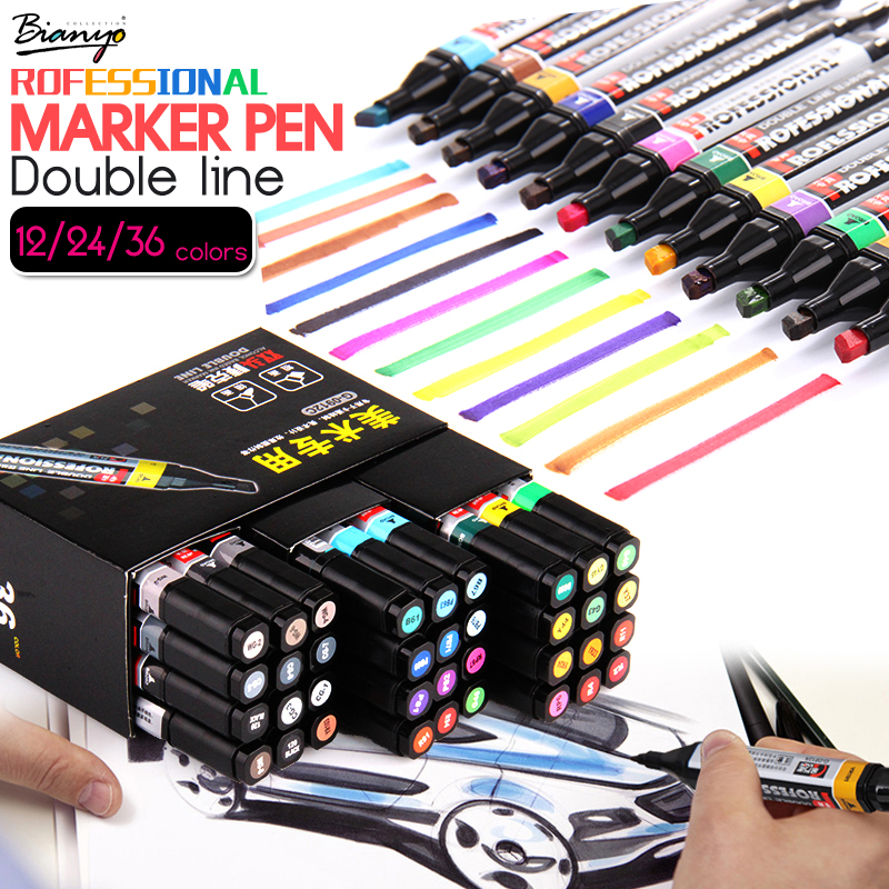 Bianyo 12/24/36 Profession Markers Double Head Sketch Design Pen Set For Artist Student Stationery Alcohol Based Marker Supplies touchnew 60 colors artist dual head sketch markers for manga marker school drawing marker pen design supplies 5type