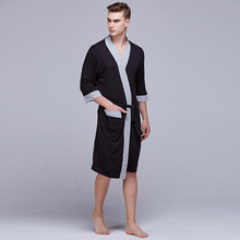 Daeyard Modal Robes For Men Solid Summer Robe Long Bath Robe Sleepwear Unisex Spa Robe Kimono Sexy Night Wear Home Clothes