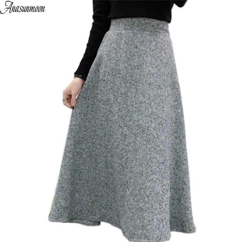 ANASUNMOON Pleated Skirt Tutu Autumn Long High-Waist Winter Women Maxi Mujer Woolen Midi