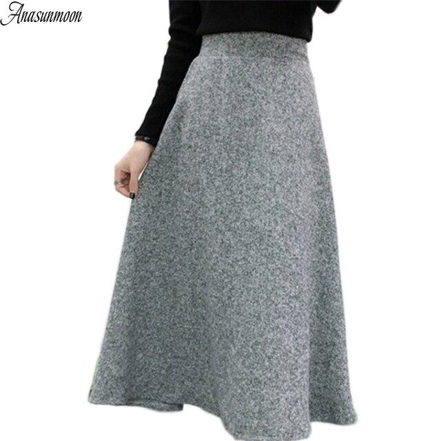81063ffad € 22.66 25% de DESCUENTO|ANASUNMOON 2017 lana otoño invierno una línea Midi  falda de lana Falda Mujer alta cintura larga Maxi tutú Falda plisada ...