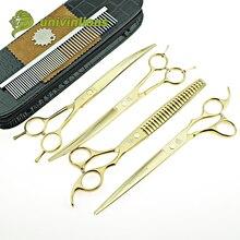 """8 """"univinlions ouro pet tesouras cão grooming tesoura curvo grooming kits de corte de cabelo do cão ferramentas de corte de cabelo gato clippers"""