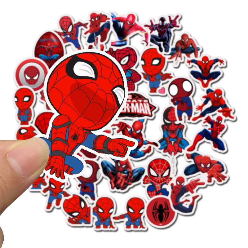 35Pcs/pack Marvel Stickers Spider-Man Cute The Avengers For Sticker Book Luggage Laptop Motorcycle Refrigerator Toys Pegatinas