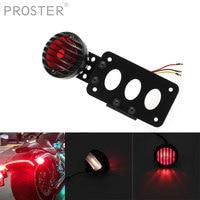 Proster Red Light 12V Aluminum Housing Car LED Bulb Retro Motorcycle Dual Tail Brake Signal Light Lamp Integrated Light