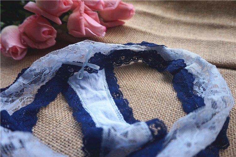 נשים סקסי הולו מלא תחרה כחול כחול בהיר תקצירים מוצק צבע תחתונים נוחים בדים בנות קיץ לאתר תחתונים