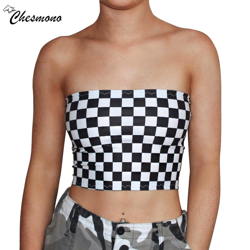 Fashion Women Black&White Plaid Sexy Strapless slim Tube Top Checkboard Cropped Bandeau Tops Underwear Bras crop tops
