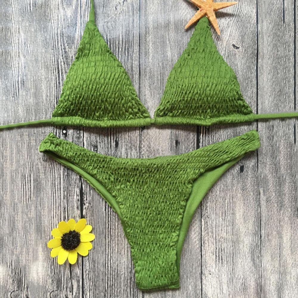 Green Sexy Bikinis Women Swimsuit 2018 Summer Beach Wear Push Up Swimwear Female Bikini Set Halter Top Bathing Suits Swim sexy bikinis women swimsuit push up bikini set bathing suits halter summer beach wear plus size swimwear 6xl