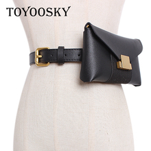 2019 New Arrival Women Belt PU Leather Square Metal Buckle Street Fashion with Detachable Waist-Pack Thin TOYOOSKY