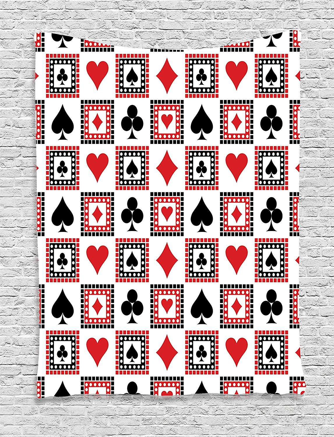 Casino Decorations Tapestry by, Icons Of Playings Cards Symmetrical Geometric Repeating Ornamental, Wall Hanging for Bedroom