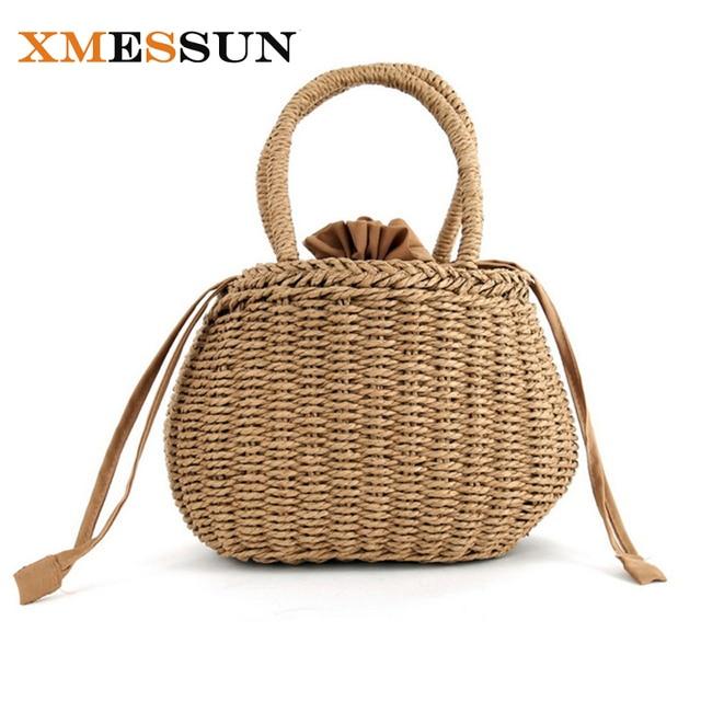 e88d9afabff1 Bucket Basket Beach Bag for Summer Big Straw Bags Handmade Woven Tote Women  Travel Handbags Luxury