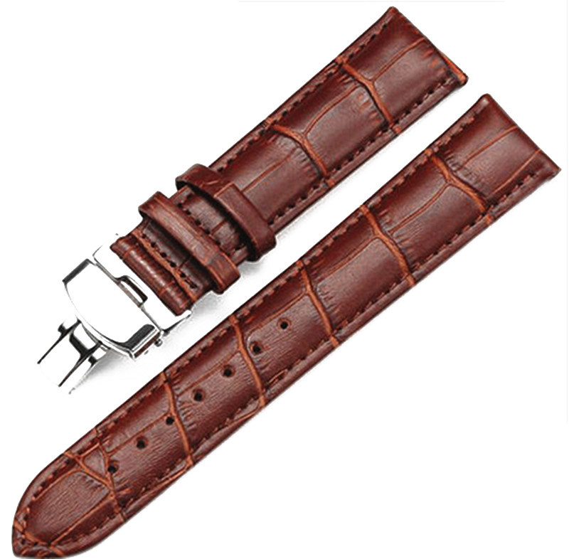 Cowhide leather belt watch men and women watch accessories butterfly buckle strap watch band waterproof faux leather spliced butterfly buckle belt