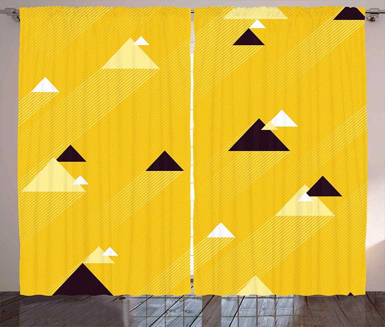 Vintage Yellow Curtains Big And Small Diagonal S With