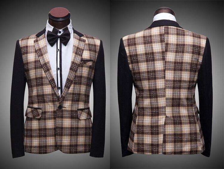 da96e3f2b2e7e Envío libre mens compruebe patrón impresión chaqueta de esmoquin  etapa evento esto es solamente chaqueta