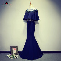 3ba39ae76d Dark Blue Mermaid Cape Lace Beading Appliques Sexy Long Evening Dresses  2018 New Fashion Evening Gown
