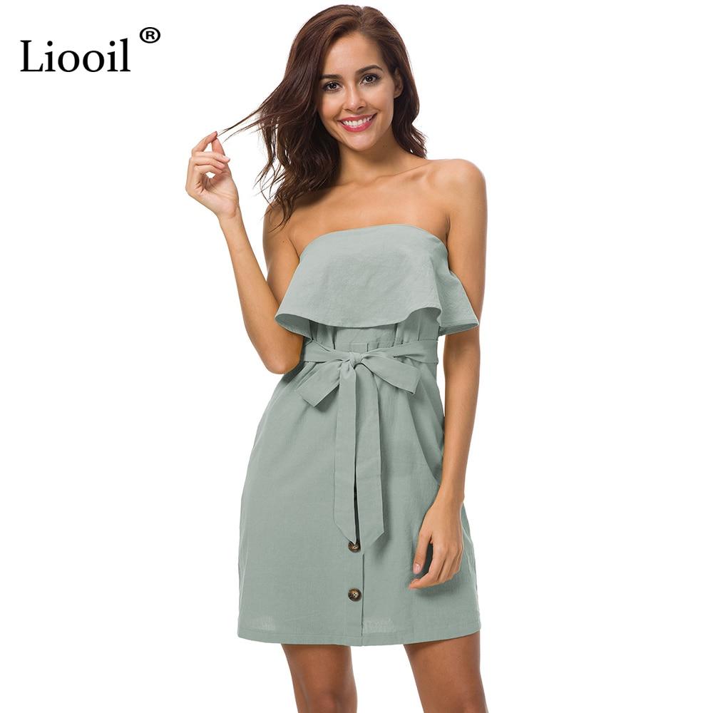 Liooil Off Shoulder Beach Mini font b Dress b font font b 2018 b font Fashion