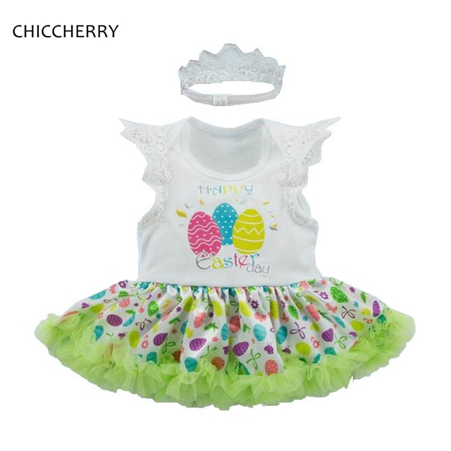 fe87c2bb6 Happy Easter Day Eeggs Petti Romper Dress Headband Newborn Tutu Sets Girls  Easter Outfits Baby Girl Clothes Infant Clothing