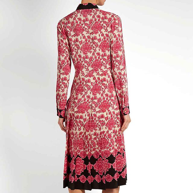Pleated Women Floral Vintage  Dress