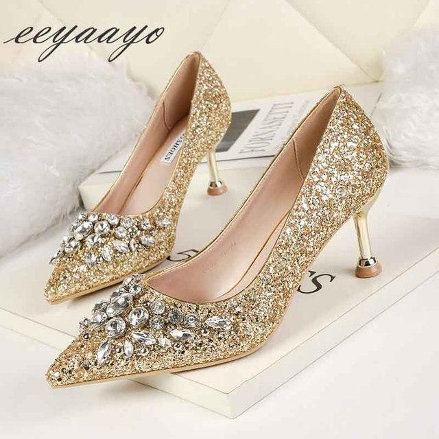 2019 nova primavera/outono mulheres bombas de salto alto fino dedo do pé apontado sexy senhoras cristal nupcial casamento sapatos femininos ouro saltos altos