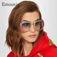Emosnia Oversized Diamond Polarized Sunglasses For Female Gradient Lens Color UV400 Driving Brand Top Sun Glasses