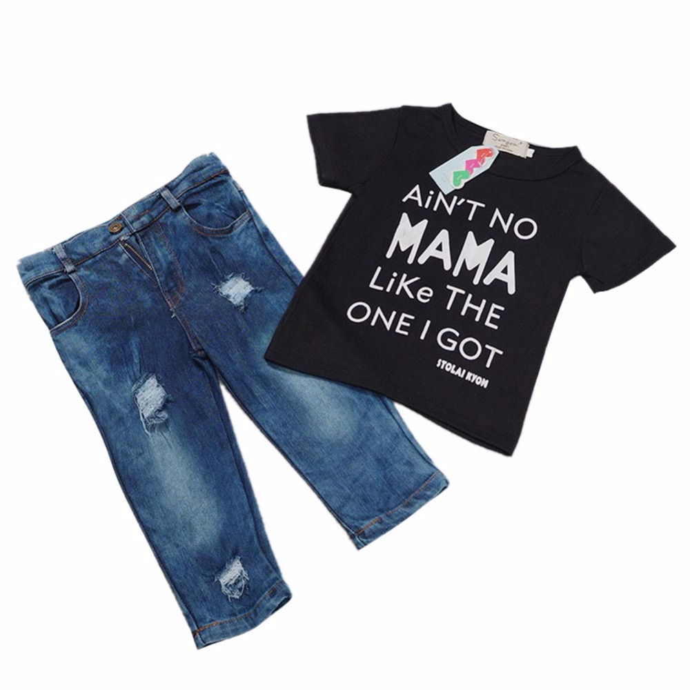 Summer Kids Clothes Black Short Sleeve Pullover Letter Printed Sports Suit Denims Trouser Casual Boys Clothing Set