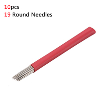 10pcs Permanent Makeup Fog Eyebrow Tattoo 19 Bevel Round Needles Microblading Needle 3D Stainless Steel Embroidery Pen Tools