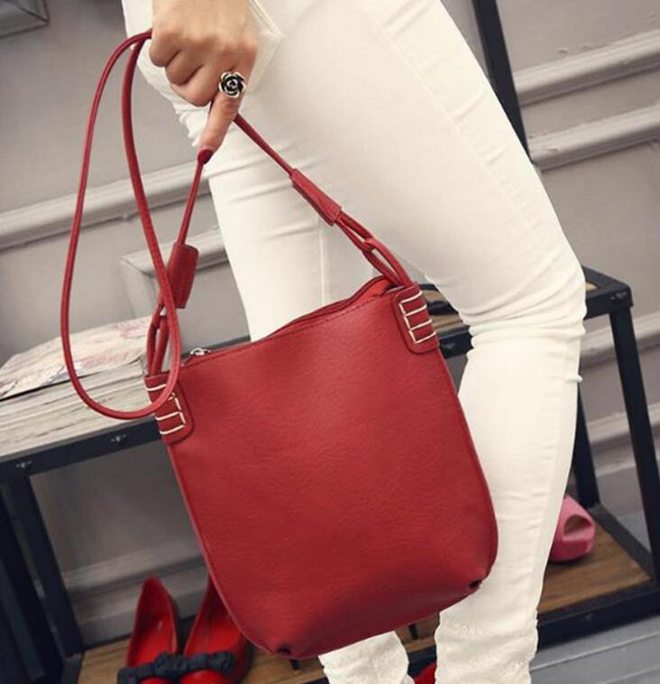 2018 FraBadis tui The new PU shoulder bag autumn and winter new style frosted skin bucket