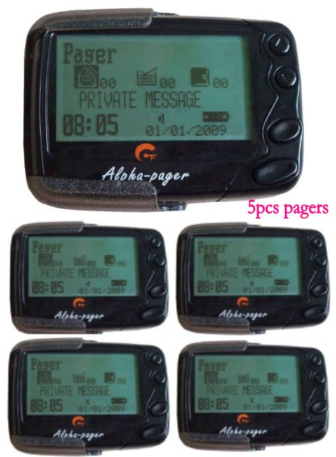 Free shipping Alpha Pocsag pager 5pcs text message Alphanumberic pager pager receiver restaurant hospital cafe wireless