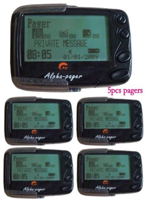 Miễn phí vận chuyển!!! alpha Pocsag máy nhắn tin, 5 pcs tin nhắn văn bản Alphanumberic máy nhắn tin, máy nhắn tin người nhận, nhà hàng/bệnh viện/quán cà phê không dây cuộc gọi
