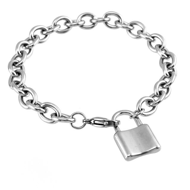 Kobiety kłódka wisiorek blokada bransoletka duży Rolo 8mm kabel łańcuch ze stali stalowa bransoletka dla par łańcuch prezent dla przyjaciółki bransoletki