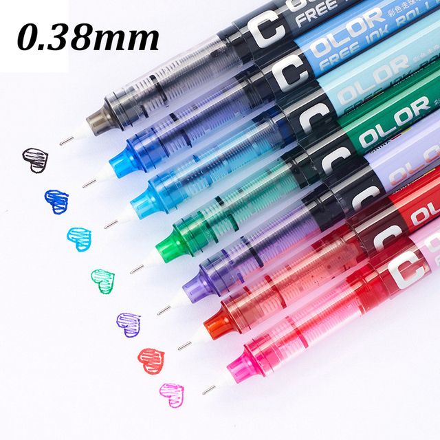7pcs/lot 0.38 Needle type straight liquid type ball pen color pen water Gel Pens Extra Fine Point Liquid Ink Roller Ball Pen