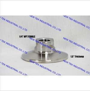 "Short Solid 1/2"" FPT x 1.5"" Tri-clamp Adapter ( Female), 1 1/2'' Triclover X 1/2'' FNPT Adapter, Heavy duty Stainless 304"
