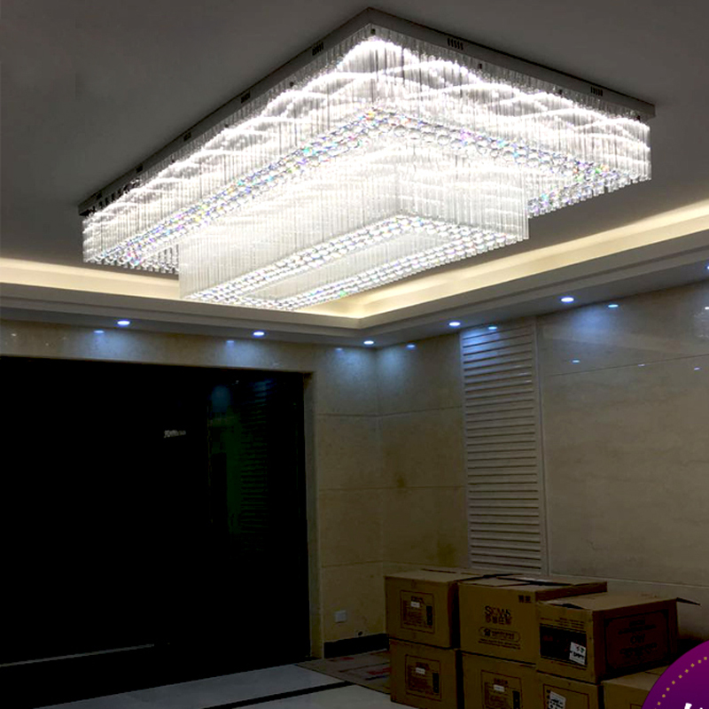 Rectangular crystal lamp large project lights customized banquet hall hotel lobby lighting villa model room lamps led lighting