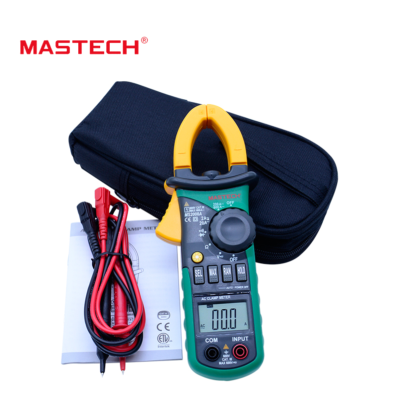 MASTECH MS2008A Digital Clamp Meters Auto Range Clamp Meter Ammeter Voltmeter Ohmmeter w/ LCD Backlight Current Voltage Tester  digital meter clamp ammeter hook 31022a