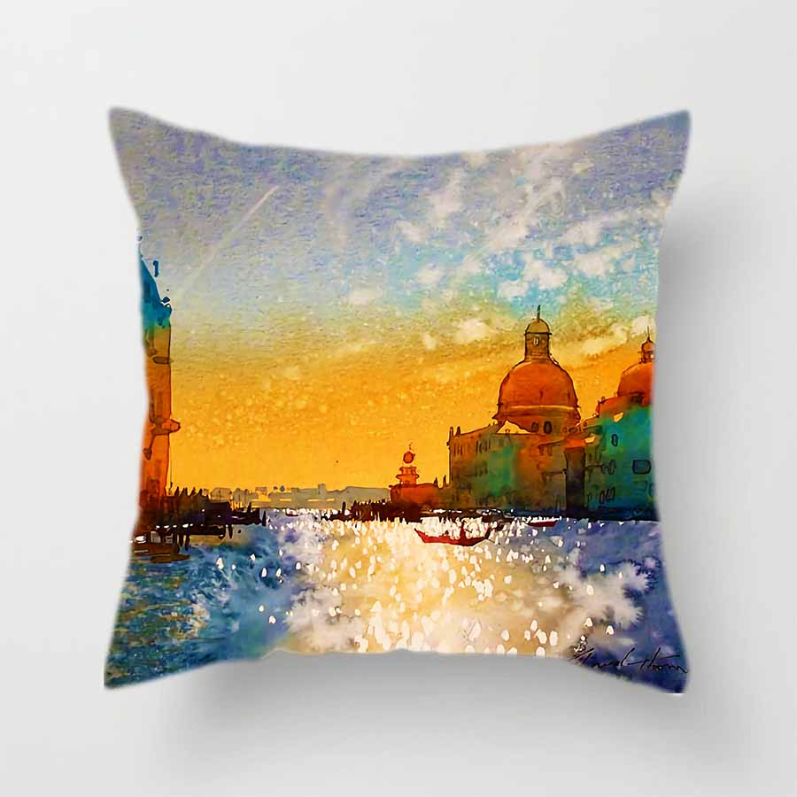 Offing Scenery Polyester Cushion Cover Sea Sailboat Pattern Decorative Pillow Case for Car Sofa Bed Home Living Room Decor 45x45 in Cushion Cover from Home Garden
