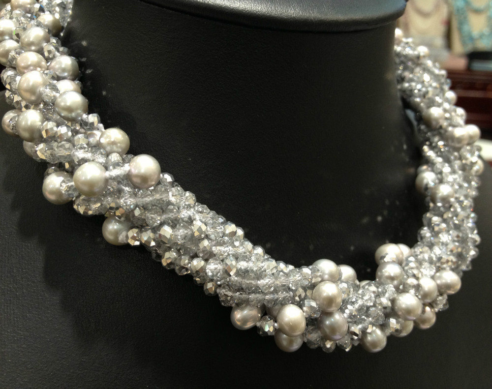 Grey Freshwater Pearl Necklace Chokers Necklace Crystal