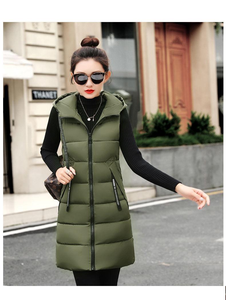 Autumn Winter Women Waistcoat Sleeveless Vest Jacket Hooded Warm Long 34