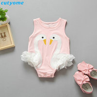 Cutyome Baby Girls Swan Bodysuits Clothes Black/Pink Cotton Newborn Infant Boy Girl Jumpsuits Sleeveless Kids One-piece Clothing