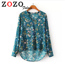 Falacs zozo Women Casual Vintage Blouses Clothing Fashion Loose Floral Print V Neck Women Tops Long Sleeve Shirts Female Blusas