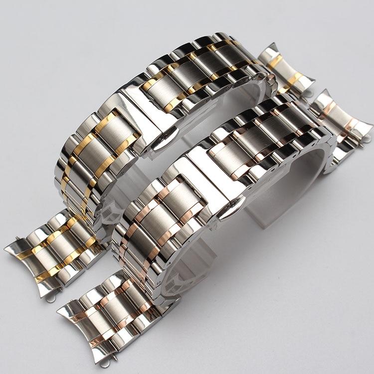 Nueva correa de reloj de metal con extremos curvos color plata y oro - Accesorios para relojes