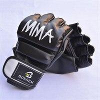 BONSEM Boxing Gloves PU Leather Half Mitts Mitten MMA Muay Thai Training Gym Gloves Training Sparring
