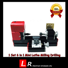 1 Set All-Metal 6 in 1 Mini Lathe Milling Drilling Wood Turning Jag Saw and Sanding Combined Machine DIY Tool